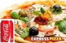 Pizza med 0.33 l. sodavand